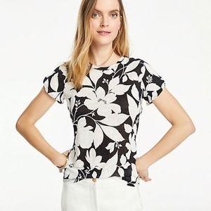 Ann Taylor Garden Linen Petal Sleeve Tee SHIRT NWT